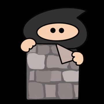壁に隠れていた忍者のイラスト