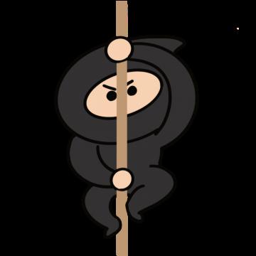 棒を使って登る忍者のイラスト
