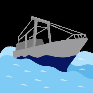 荒波を進む大型船のイラスト