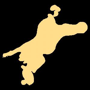 愛媛県の地図だけ切り取ったやさしい色合いのイラスト