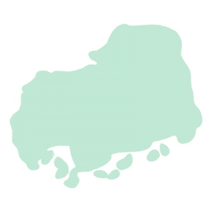 広島県の地図だけ切り取ったやさしい色合いのイラスト