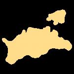 香川県の地図だけ切り取ったやさしい色合いのイラスト