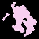 鹿児島県の地図だけ切り取ったやさしい色合いのイラスト