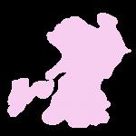 熊本県の地図だけ切り取ったやさしい色合いのイラスト