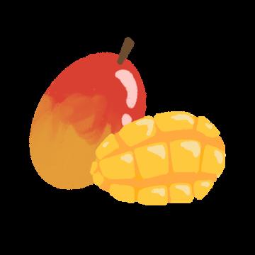 カットしたマンゴーのイラスト