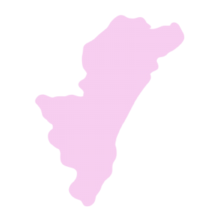 宮崎県の地図だけ切り取ったやさしい色合いのイラスト