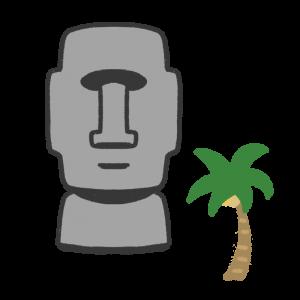 モアイ像と椰子の木のイラスト