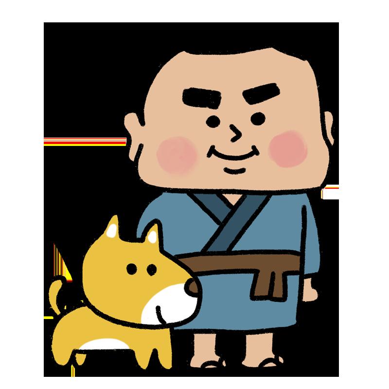 かわいい西郷隆盛と犬のイラスト