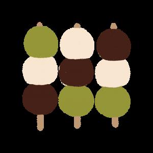 3つ並んだ三色だんご