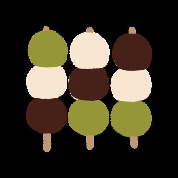 三色だんごを3つ並べたイラスト