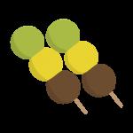 三色だんごを2つ並べたイラスト