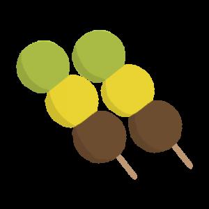 2つ並んだ三色だんご