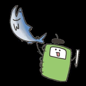 鮭を捕まえるキャラクターのイラスト