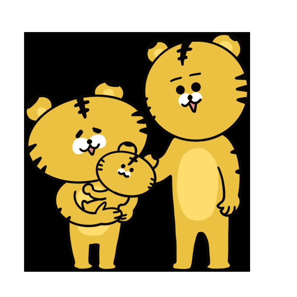 トラの家族のイラスト