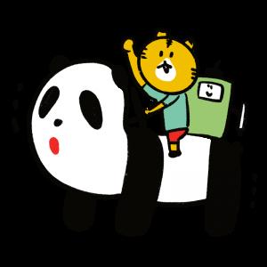 パンダのメロディペットに乗るキャラクターのイラスト