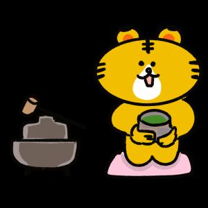 お茶を飲むトラのイラスト